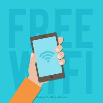 Sfondo libero di wifi con la mano che tiene un telefono mobile