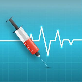 Sfondo medico con siringa e elettrocardiogramma.