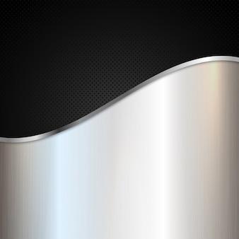 Sfondo metallico astratto con metallo lucido d'argento e disegno perforato nero