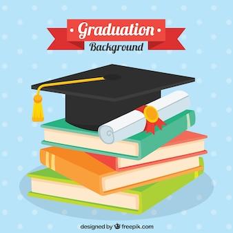 Sfondo punteggiato con libri e elementi di graduazione in design piatto