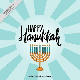 Sfondo raggera con candelabri di Hanukkah