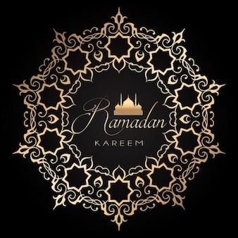 sfondo Ramadan elegante con oro e design nero
