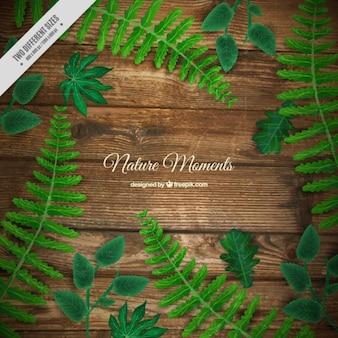 Sfondo realistico di pavimento in legno con foglie