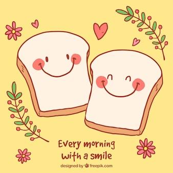 Sfondo romantico con personaggi carino di pane tostato