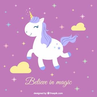 Sfondo rosa con stelle e unicorno