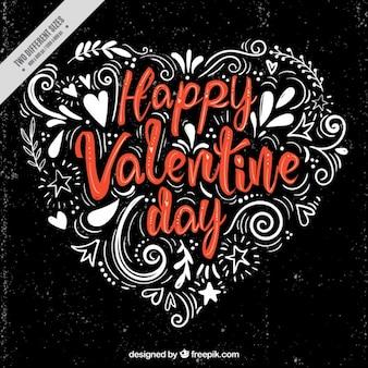Sfondo scuro con ornamentali cuore di San Valentino