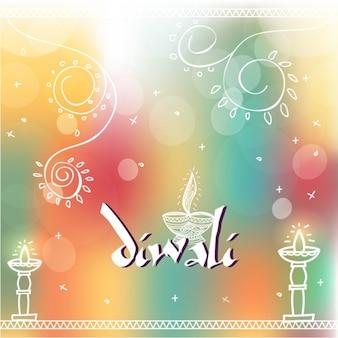 Sfondo sfocato con gli elementi disegnati a mano per il Diwali