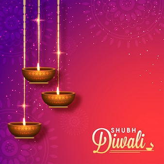 Sfondo Shubh Diwali lucido con lampade ad olio 3D appese.
