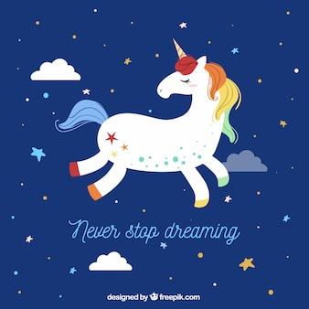 Sfondo Unicorno che vola nel cielo