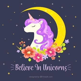 Sfondo Unicorno con la luna e decorazione floreale