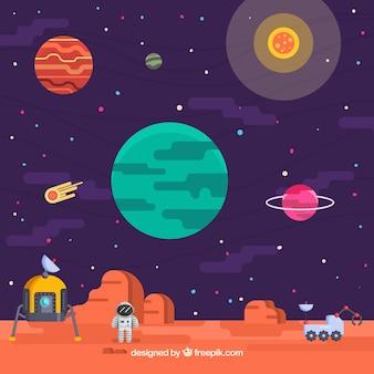 Sfondo universo con astronauta su un pianeta