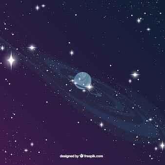Sfondo universo con il pianeta