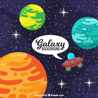 Sfondo universo con pianeti e piattino volante