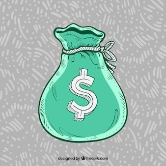 Sfondo verde borsa con simbolo del dollaro disegnato a mano