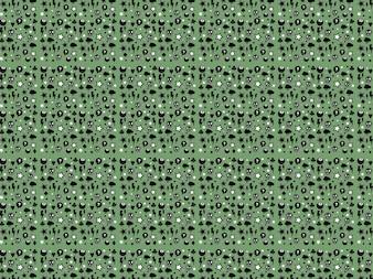 Sfondo verde con disegno di teschi raggi nuvole