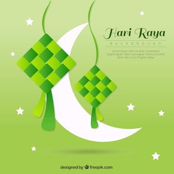 Sfondo verde di Hari Raya con la luna