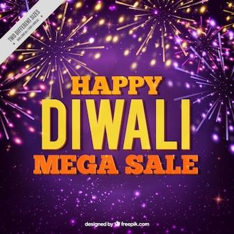 Sfondo viola Vendita di Diwali con fuochi d'artificio