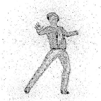 Silhouette di una figura maschile fatto di punti che esplodono