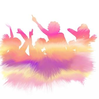Silhouette di una folla di partito con una texture acquerello