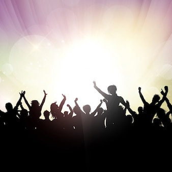Silhouette di una folla di partito su uno sfondo astratto