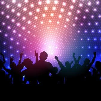 Silhouette di una folla di partito su uno sfondo discoteca luci