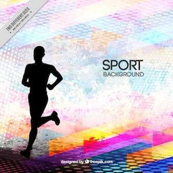 silhouette Runner su uno sfondo astratto