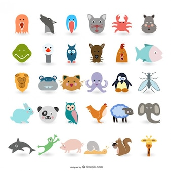 simpatico cartone animato animali vettoriale