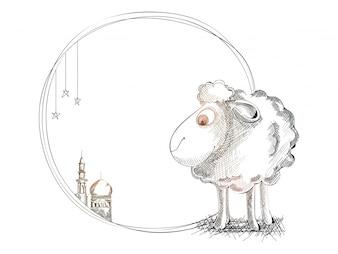 Sketch disegnato a mano di capra per Eid-Al-Adha.