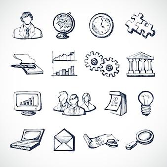 Sketch icone infografiche impostate con globo orologio computer puzzle soldi isolato illustrazione vettoriale