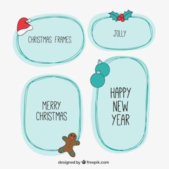 Sketchy cornici di Natale in stile carino