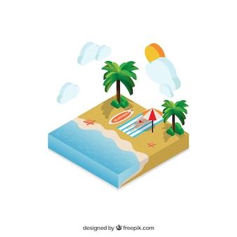 spiaggia isometrica paesaggio estivo