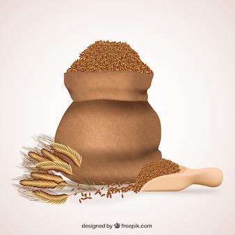 Spighe di grano e sacchetto di grano