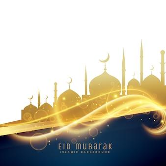 Splendido design di saluto di festival eid con moschea dorata e glitter leggeri
