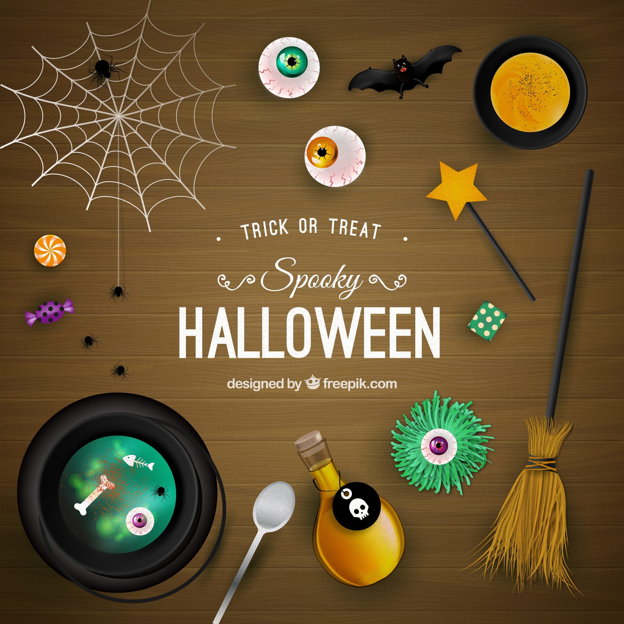 Spooky Halloween background sulla superficie di legno