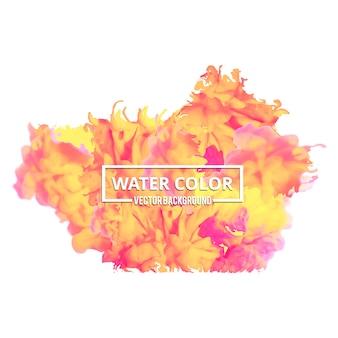 Spruzzata acquerello astratta Multicolor Drop Watercolor su sfondo bianco