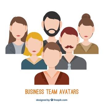 Squadra di affari avatar in stile piatta