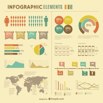 Statistiche globali infographic disegno libero