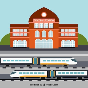 Stazione centrale con treni ad alta velocità
