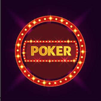 Striscia di luce con il testo Poker sulla priorità bassa viola.