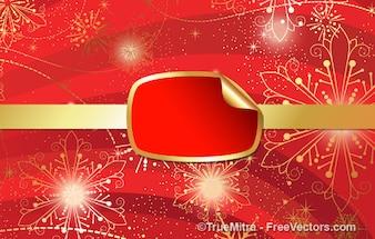 Striscione rosso con l'oro scintilla sfondo astratto
