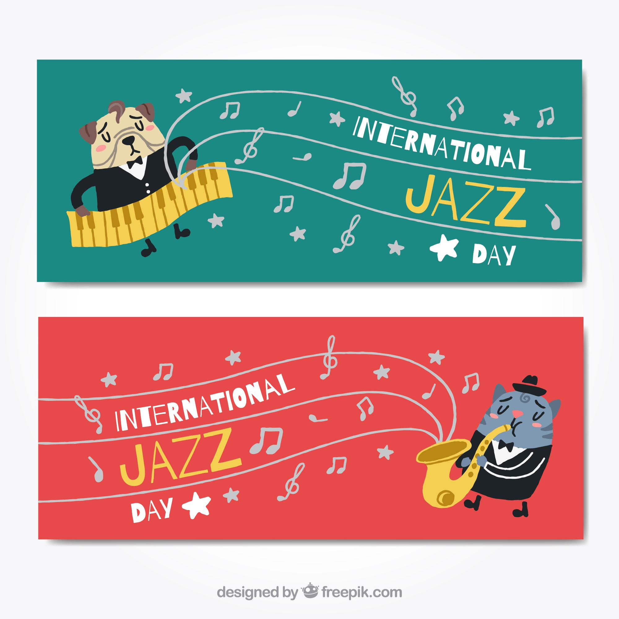 Striscioni animali e musica jazz