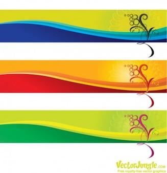 Striscioni colorati con fiori di sfondo