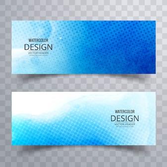 Striscioni con acquerelli blu