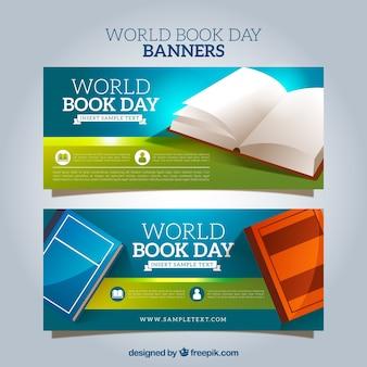 Striscioni con diversi libri