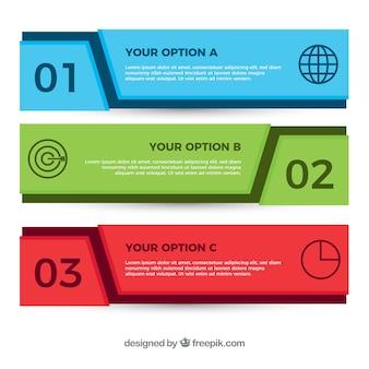 Striscioni infographic colorate con disegno geometrico