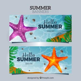 Striscioni mare con stelle marine e foglie di palma