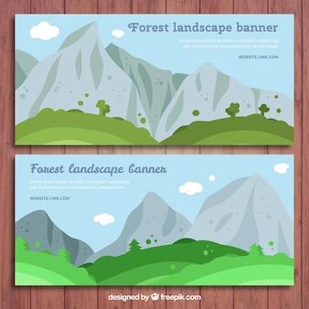 Striscioni paesaggio con le montagne