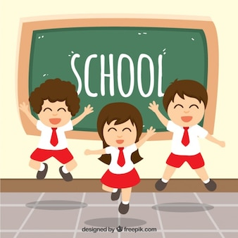 Studenti felici saltare in classe