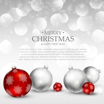 Stupefacente vacanza auguri di Natale con le palle realistici natale rosso e argento