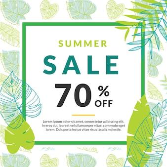 Summer Sale Template Banner con foglie di palma